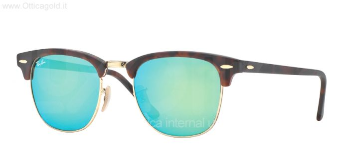 Occhiali da sole Ray Ban RB3016 CLUBMASTER - 114519 SAND HAVANA GOLD GREY MIRROR GREEN
